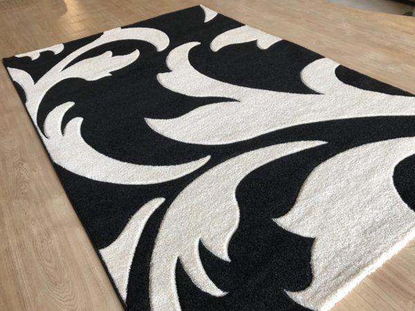 релефен килим съни   1446 черно бял